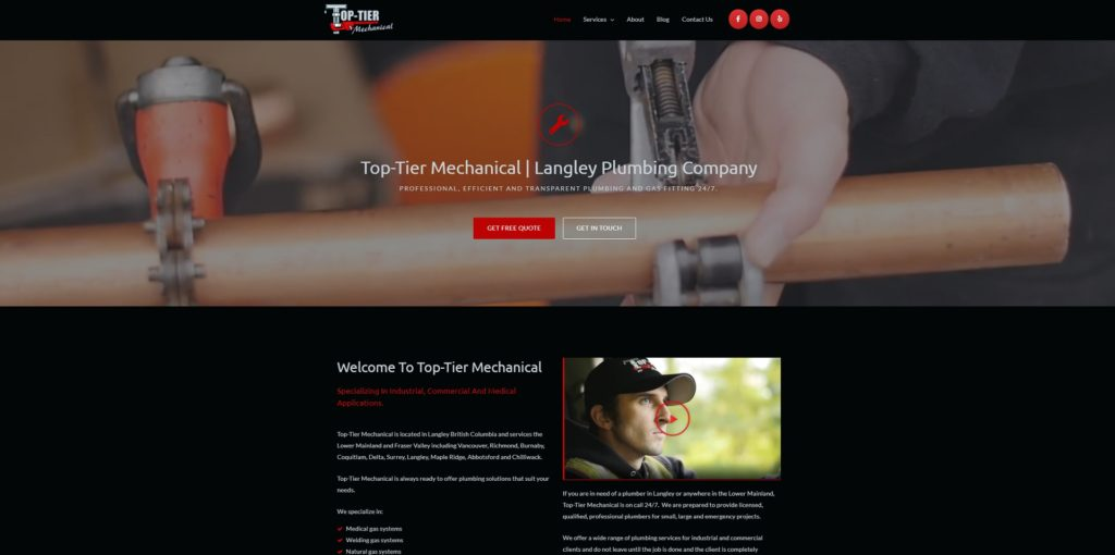 Top-Tier Mechanical plumbing company home page of website