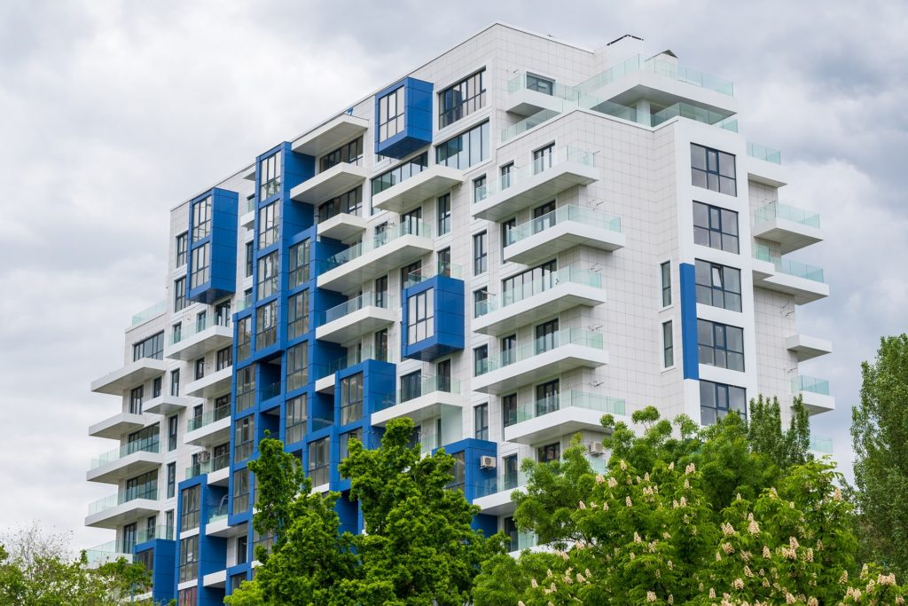 modern white and blue residential building
